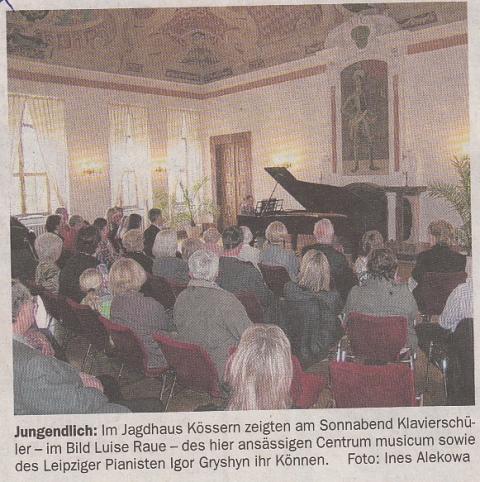 centrum musicum im Jagdhaus Kössern - die private Unterrichtsstätte in einem barocken Kleinod im Tal der Mulde zwischen Grimma und Colditz. Pianistische Ausbildung, Musiktheorie, Musikgeschichte